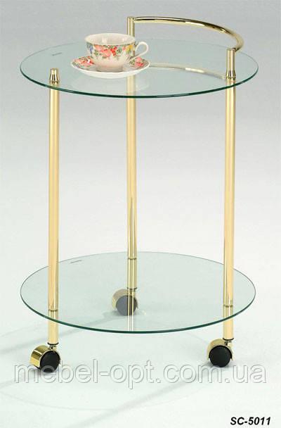 Сервировочный столик SC-5011, стеклянный сервировочный столик на колесиках