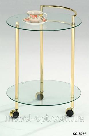 Сервировочный столик SC-5011, стеклянный сервировочный столик на колесиках, фото 2