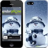 "Чехол на iPhone 5 Весёлый снеговичёк ""214c-18"""