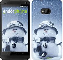 "Чехол на HTC One M7 Весёлый снеговичёк ""214c-36"""