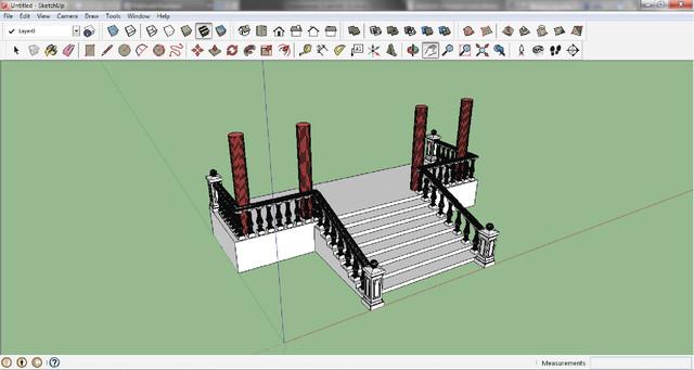 sketchup модель балюстрады