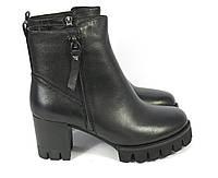 Кожаные зимние ботинки на каблуке, фото 1