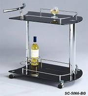 Сервировочный столик SC-5066-BG, стеклянная сервировочная тележка черная