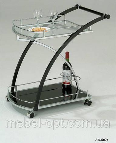 Сервировочный столик SC-5071, сервировочная стеклянная тележка, фото 2