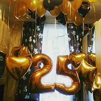 """Гелиевая композиция """"25"""" в золоте. Гелиевые шары Киев."""