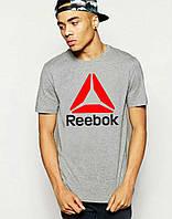 Модная футболка серая с принтом рибок,Reebok