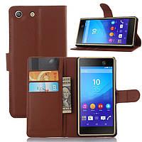 Чехол Sony M5 / E5633 / E5603 книжка PU-Кожа коричневый