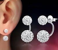 Серьги женские посеребренные Diamond