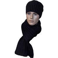 """Мужская вязаная шапка - носок """" косичка """" (утепленный вариант) и шарф - петля , цвета вороново крыло"""