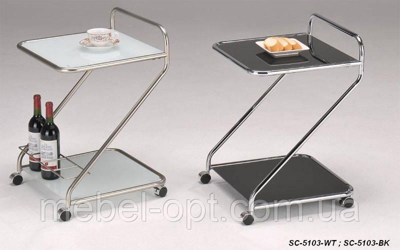 Сервировочный столик SC-5103 BK, стеклянная сервировочная тележка на колесиках