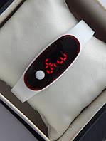 Спортивные наручные led часы в виде браслета белого цвета , фото 1