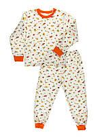 Пижама детская, теплая с начесом, белый фон