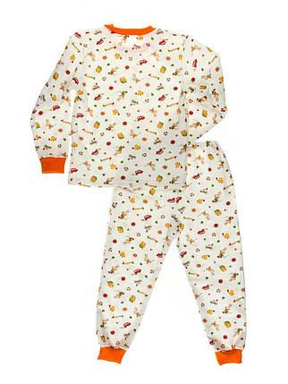 Пижама детская, теплая с начесом, белый фон, фото 2
