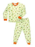 Пижама детская, теплая с начесом, салатовый фон