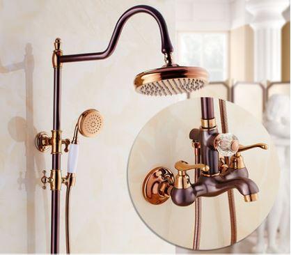 Душевая стойка со смесителем лейкой и верхним душем для ванной комнаты розовое золото