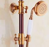 Душевая стойка со смесителем лейкой и верхним душем для ванной комнаты розовое золото, фото 2