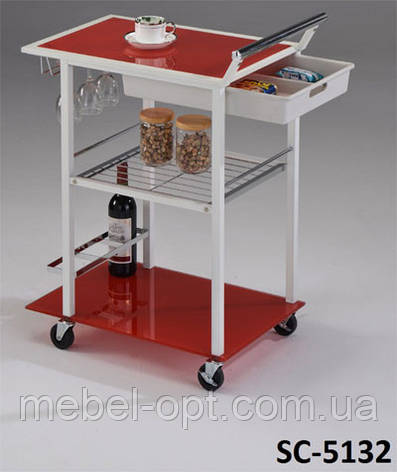 Сервировочный столик SC-5132, красный сервировочный столик, фото 2