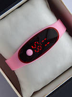 Спортивные наручные led часы в виде браслета розового цвета