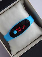 Спортивные наручные led часы в виде браслета голубого цвета, фото 1