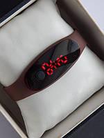 Спортивные наручные led часы в виде браслета коричневого цвета