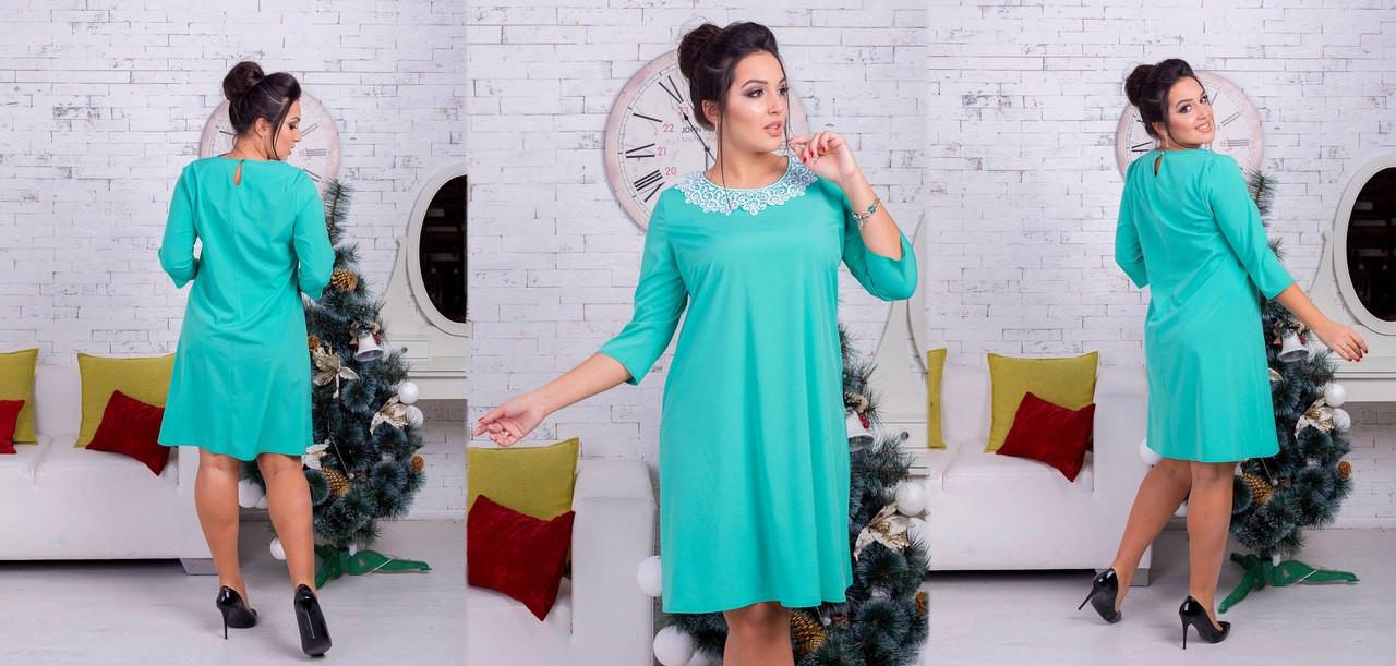 Платье однотонное декорировано кружевом - Интернет-магазин «Вивант» в Одессе
