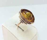 Золотое кольцо с янтарем 583 проба СССР