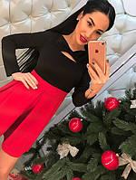 """Молодежное, женское, трикотажное платье осень-зима """"Бант"""" (длинные рукава, юбка в складку)"""