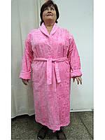 Халат женский махровый 56-58 длинный розовый Nusa