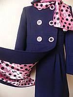 Детское  кашемировое синее пальто для девочки Китти