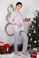 Комфортная пижама для беременных и кормящих Sugar light, котики серый меланж, фото 1