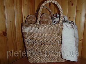 Комплект банный соломенный (лапти+сумка)