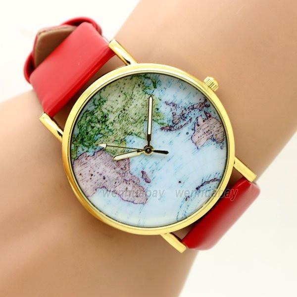 Часы женские наручные Planet Карта мира red (красный)
