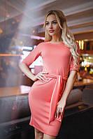 Платье Персик Трикотажное под пояс Красиво Ложится по Фигуре