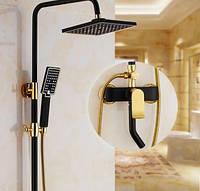 Душевая стойка черная для ванной комнаты со смесителем краном лейкой и верхним душем, фото 1