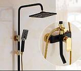 Душевая стойка черная для ванной комнаты со смесителем краном лейкой и верхним душем, фото 2