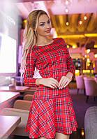 Платье Клетка Модное Красное Юбка Шотландка Складки