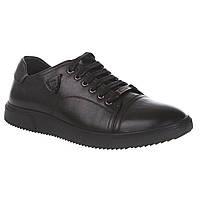 Туфли мужские Basconi (стильные, черные, на шнурках, модные, кожаные)