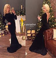 Платье длинное бархат на руках стразы сваровски + шлейф