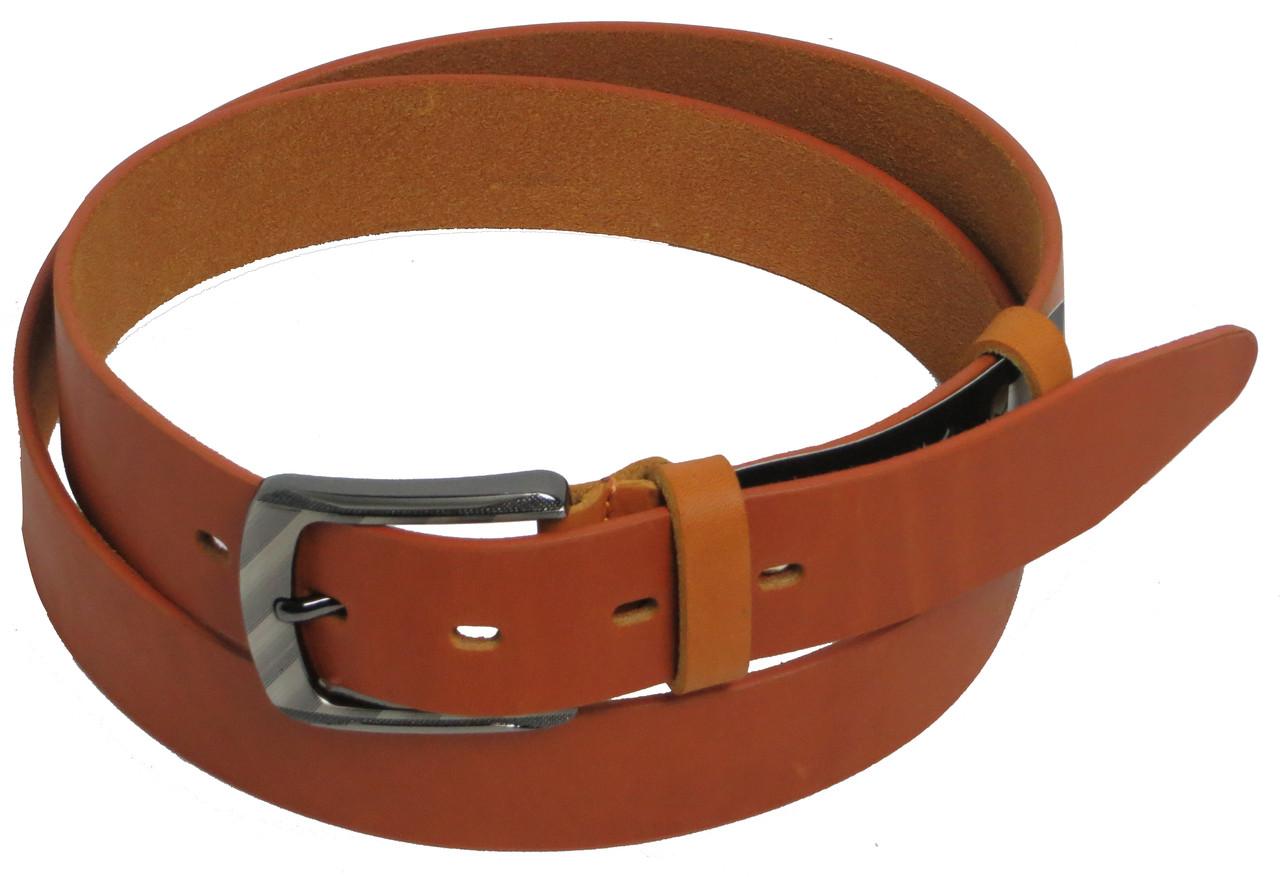 Брючный мужской кожаный ремень FLX 2624-2 рыжий ДхШ: 127х3,5 см.