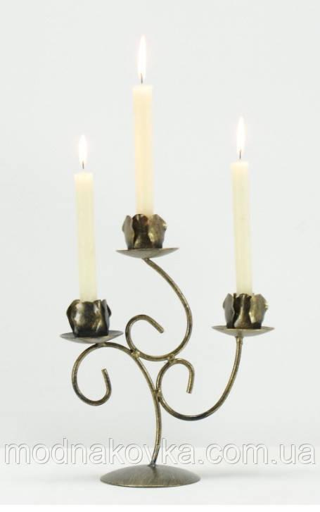Кованый подсвечник на 3 свечи черный/золото