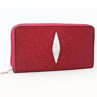 Женский клатч/кошелек на молнии из натуральной кожи ската, цвет ярко красный