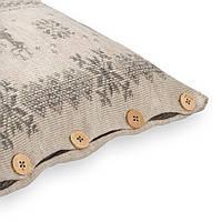 Подушка декоративная Ohaina на пуговицах вязаная скандинавская коллекция 40х40  цвет какао и сталь