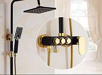 Душевая стойка для ванной комнаты со смесителем краном, лейкой и верхним душем 0196, фото 1