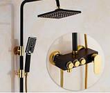 Душевая стойка для ванной комнаты со смесителем краном, лейкой и верхним душем 0196, фото 2