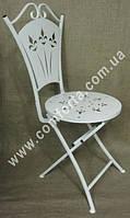 33435 Стул раскладной металлический белый, высота ~ 1 м, ширина ~ 50 см