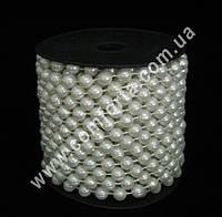 32657 Бусы в бобине белые перламутровые, диаметр бусины ~ 8 мм, длина нити ~ 10 м