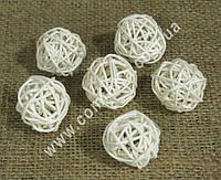 31086-01 Шарики из ротанга бежевые (6 шт), диаметр - 3 см