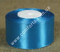 33743501 Лента атласная светло-синяя в рулоне, ширина ~ 4 см, длина ~ 23 м