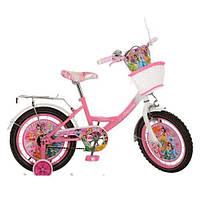 Детский двухколесный велосипед,16 дюймов (арт PS165) Принцессы, розово-белый