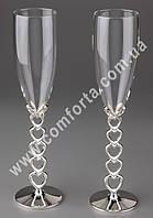 31165 Сердечки, серебристый, свадебные бокалы (2 шт), высота ~ 25,5 см, объем ~ 150 мл